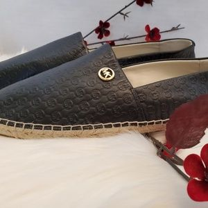 Michael Kors Black Leather Espadrille Flats Sz 10